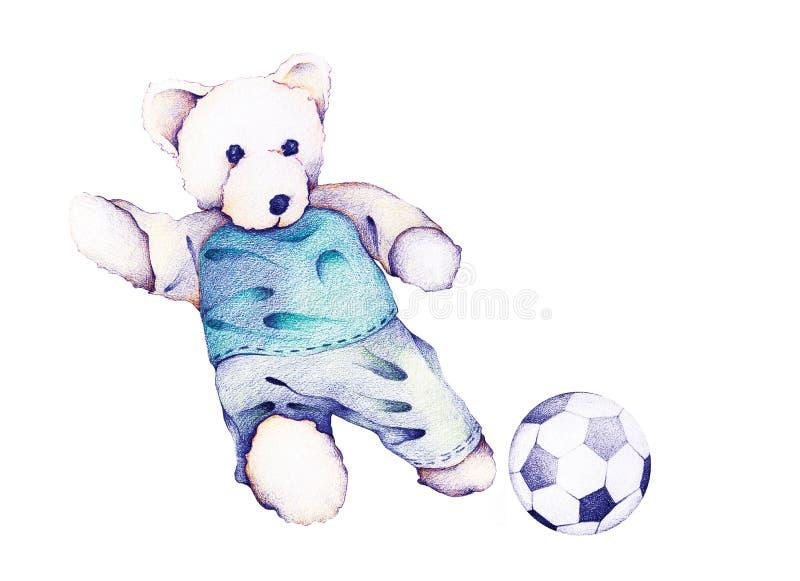 Mano dibujada de Teddy Bear Playing Soccer ilustración del vector