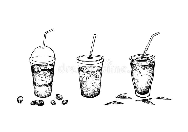 Mano dibujada del café helado y del té ilustración del vector