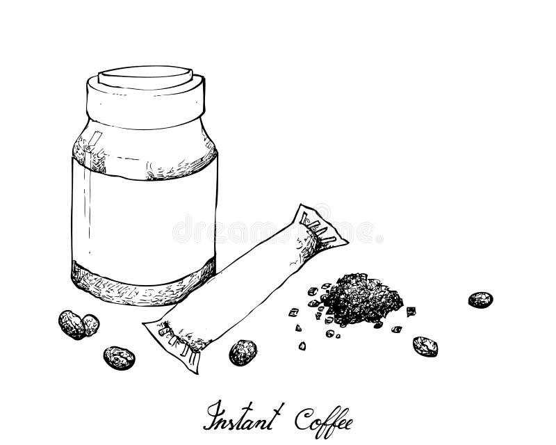 Mano dibujada del café instantáneo en el fondo blanco ilustración del vector