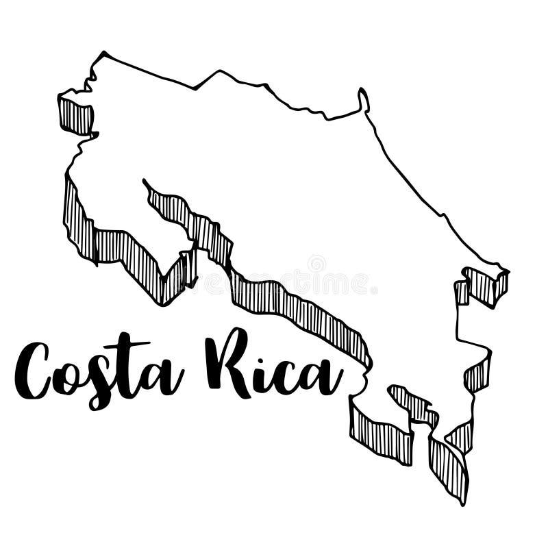 Mano dibujada del mapa de Costa Rica ilustración del vector