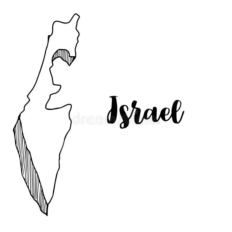 Mano dibujada del mapa de Israel stock de ilustración