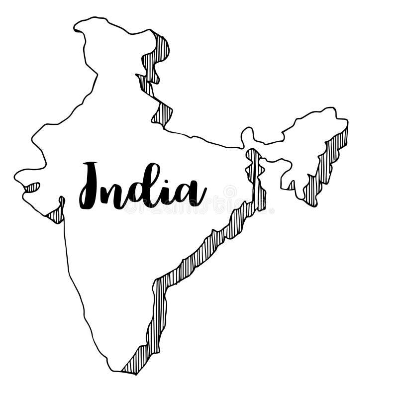 Mano dibujada del mapa de la India, ejemplo ilustración del vector