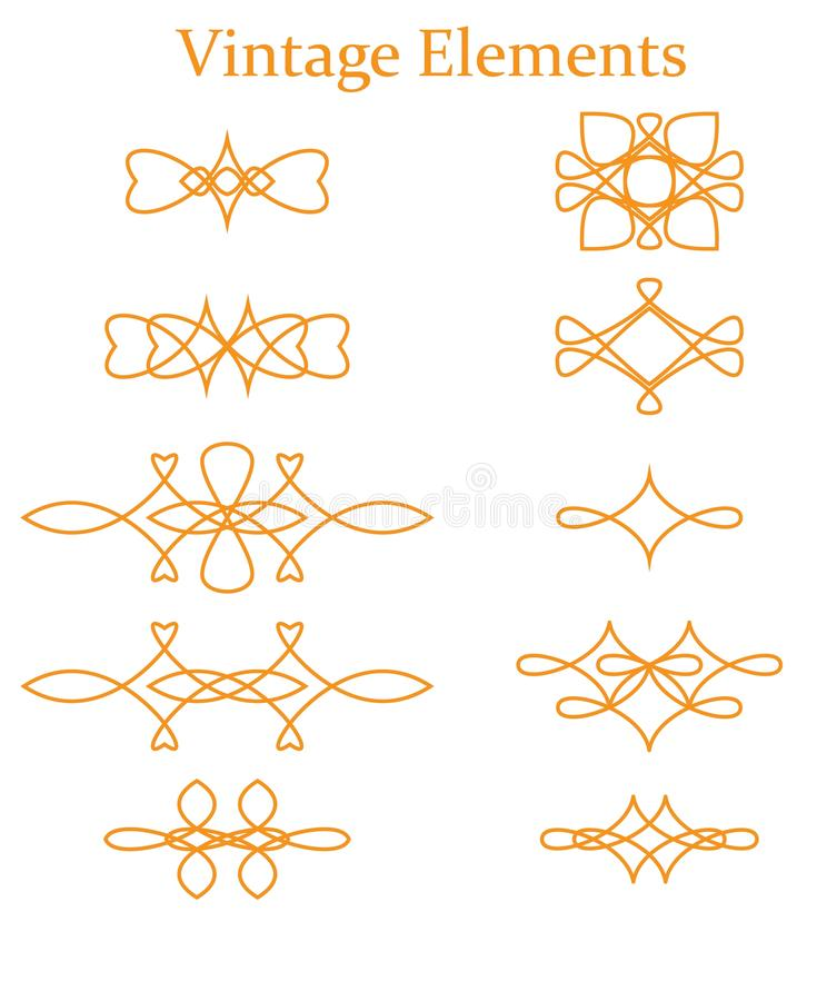 Mano dibujada, divisores, sistema del vector de elemento precioso gráfico del diseño Fronteras lindas del vintage Casarse tarjeta stock de ilustración