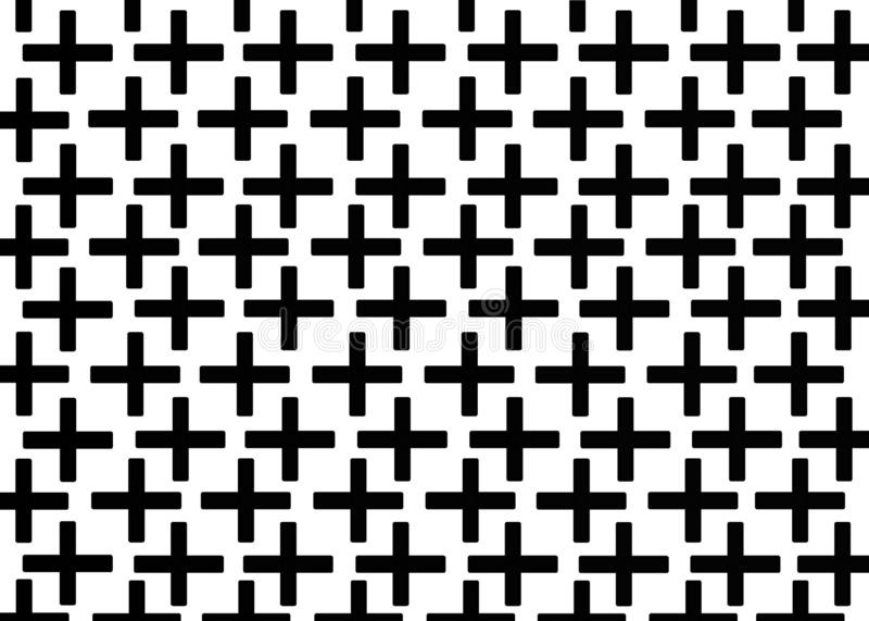 Mano dibujada, fondo monocrom?tico abstracto creado con el signo m?s stock de ilustración