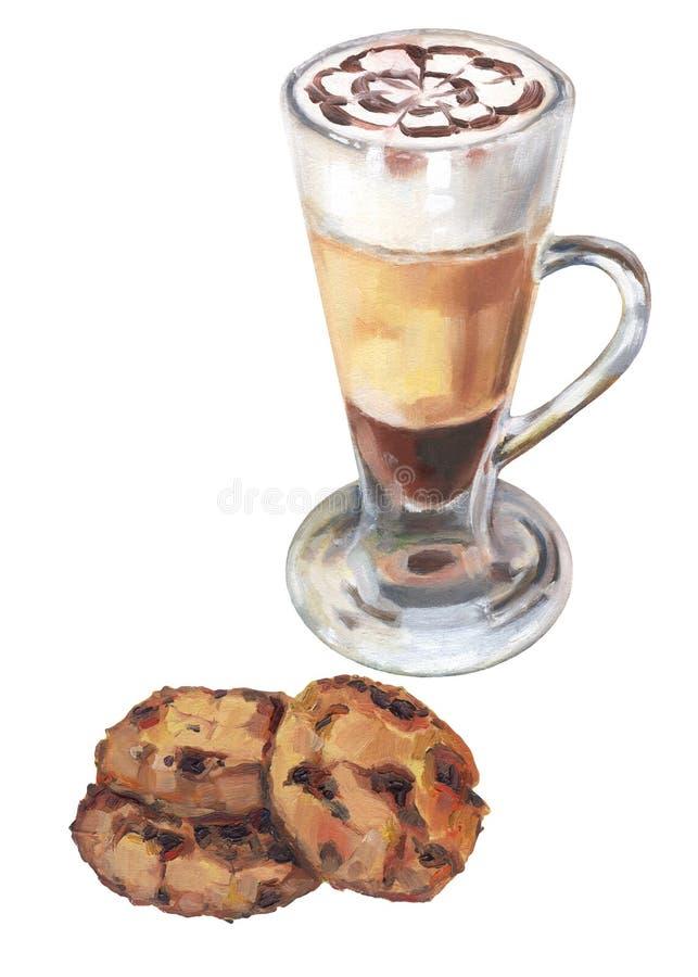 A mano dibujada galleta de microprocesador del latte y de chocolate foto de archivo