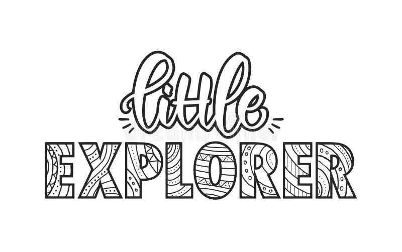 Mano dibujada poniendo letras a la composición del pequeño explorador Diseño de la camiseta de los niños stock de ilustración