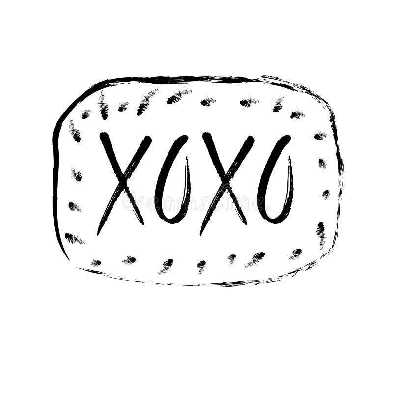 Mano dibujada poniendo letras a xoxo Vector el ejemplo, tarjeta de felicitación, diseño, logotipo stock de ilustración