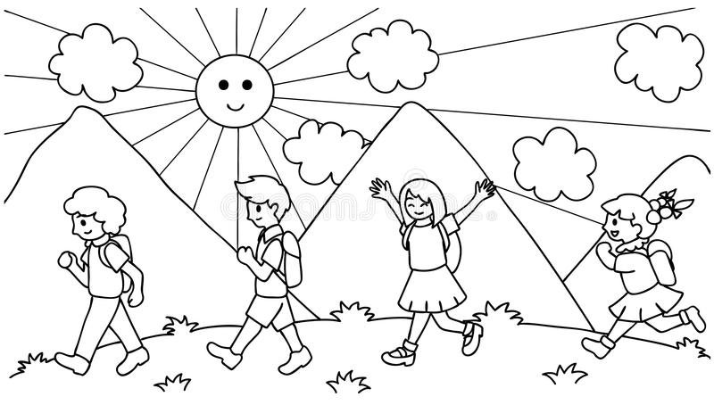 Mano dibujada sobre los niños lindos que caminan a la escuela, de nuevo a la escuela para el elemento del diseño y la página del  stock de ilustración