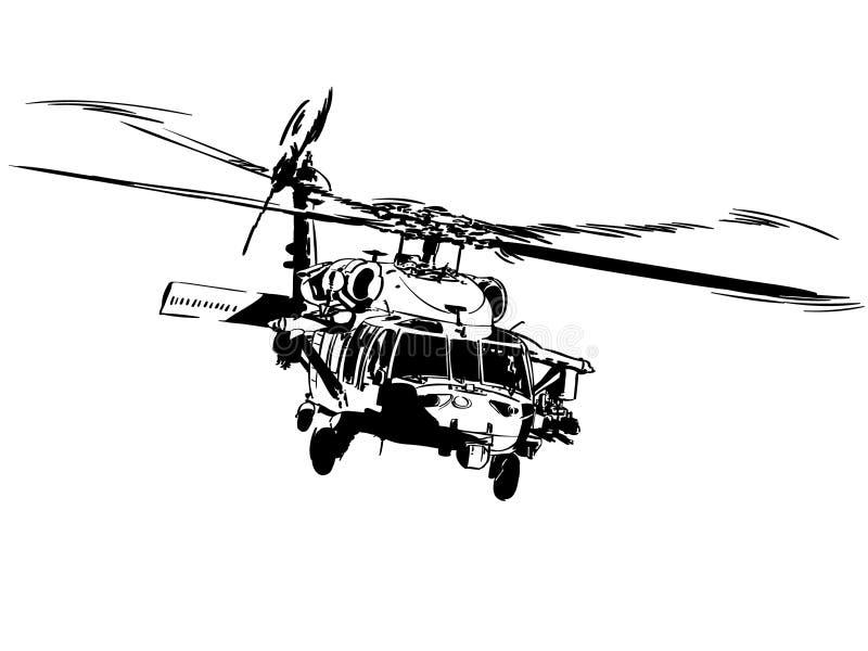 Mano dibujada, vector, EPS, logotipo, icono, crafteroks, ejemplo del vector EPS del helicóptero de la silueta para diversas aplic stock de ilustración