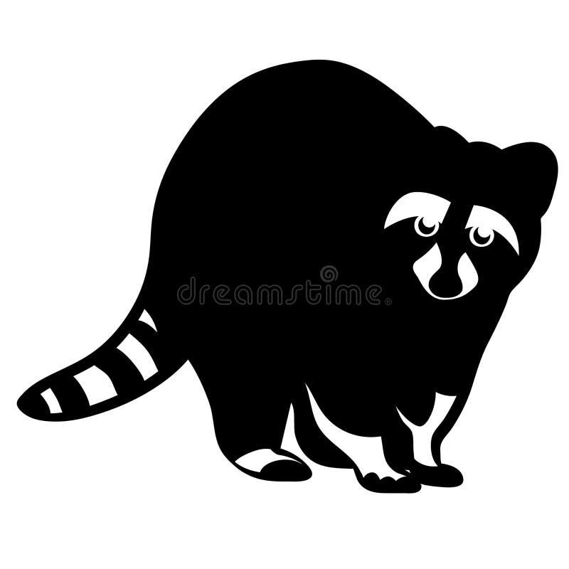 Mano dibujada, vector, EPS, logotipo, icono, crafteroks, ejemplo del vector EPS del mapache de la silueta para diversas aplicacio libre illustration