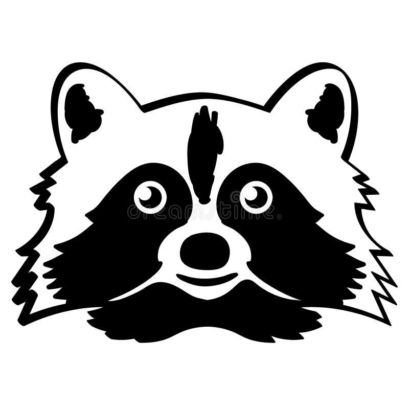 Mano dibujada, vector, EPS, logotipo, icono, crafteroks, ejemplo del vector EPS del mapache de la silueta para diversas aplicacio stock de ilustración