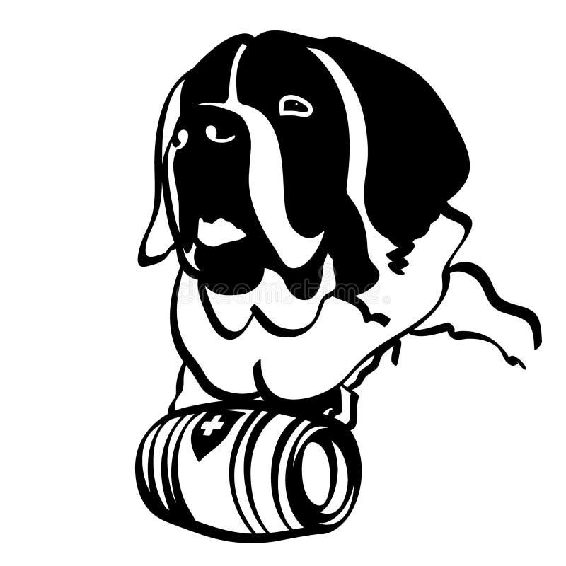 Mano dibujada, vector, EPS, logotipo, icono, ejemplo del vector EPS del perro de St Bernard de la silueta por los crafteroks para stock de ilustración