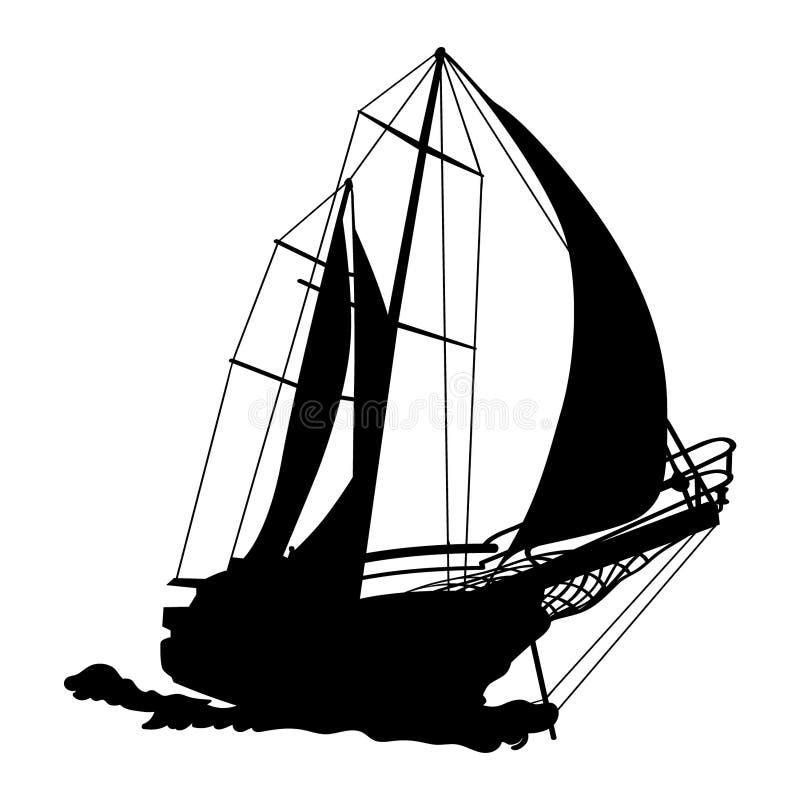 Mano dibujada, vector, EPS, logotipo, icono, ejemplo del velero de la silueta por los crafteroks para diversas aplicaciones ilustración del vector
