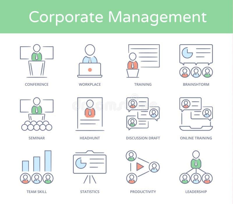 Mano dibujado línea icono del estilo fijado: Negocio Presentatio, hombres de negocios de la gestión, líder Training, audiencia y  ilustración del vector