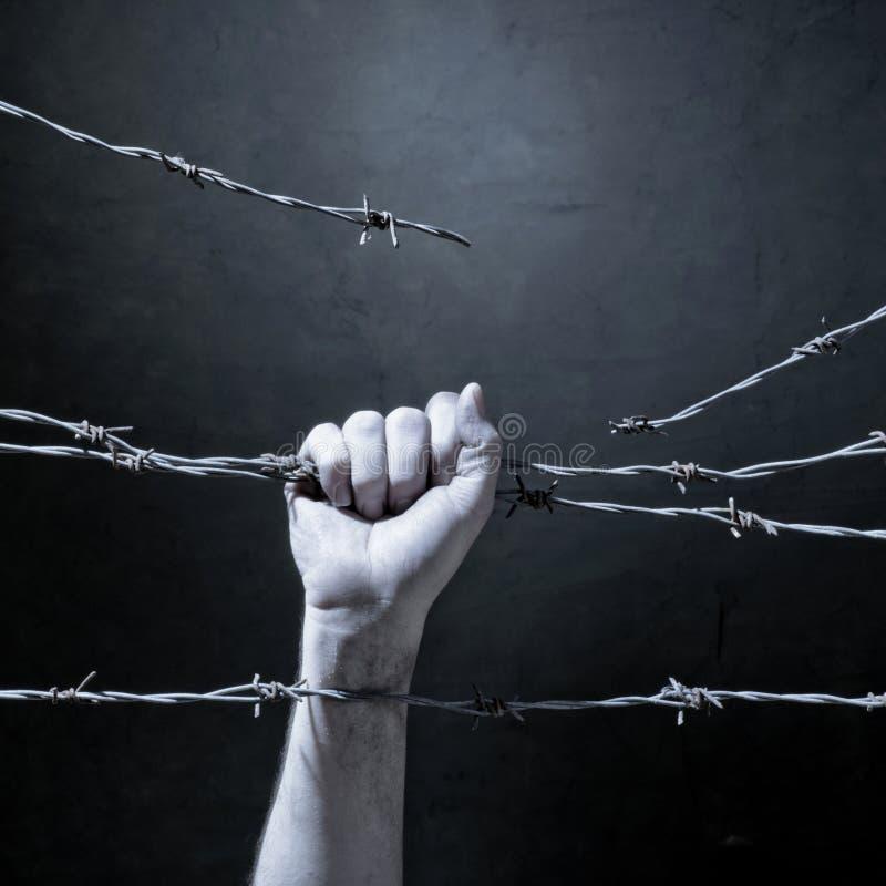 Mano dietro filo spinato immagini stock libere da diritti
