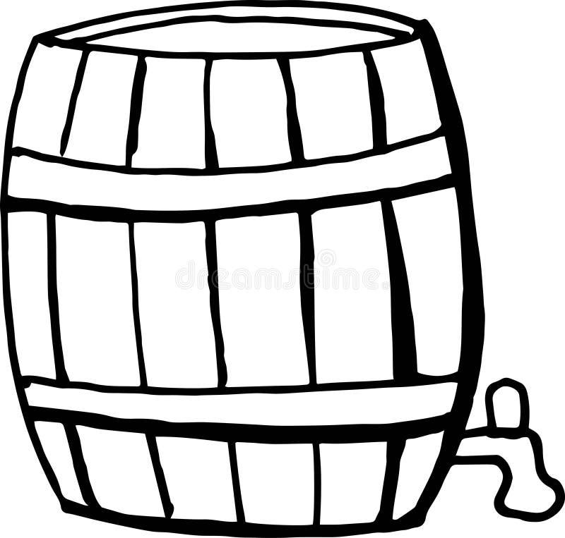 A mano disegno un il barilotto di birra su un fondo bianco Illustrazione di vettore di scarabocchio per i manifesti, menu, festiv illustrazione vettoriale