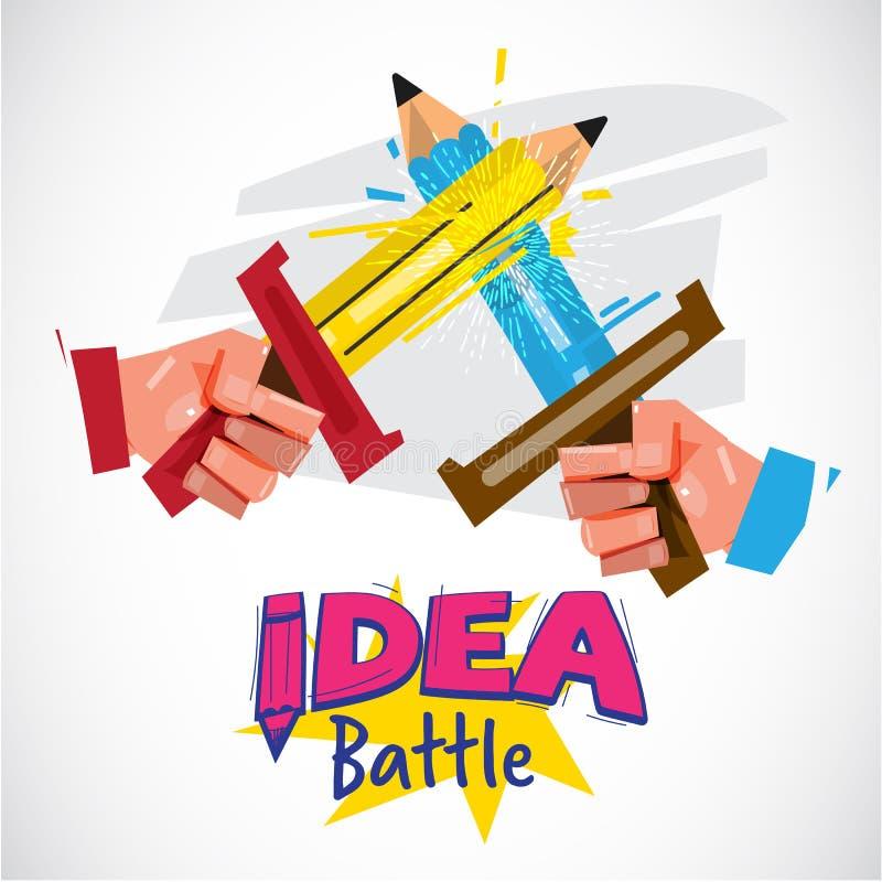 Mano dos usando el lápiz como lucha de la espada batalla o creativ de la idea libre illustration