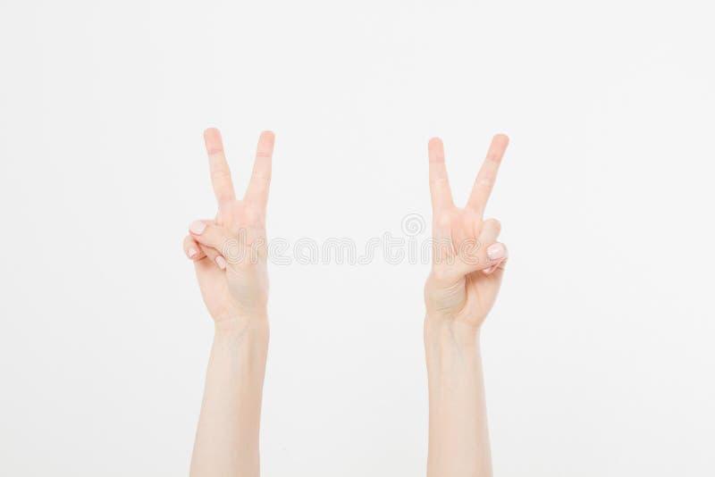 Mano due che mostra il segno della vittoria o del primo piano di pace isolato su fondo bianco Front View Derisione su Copi lo spa fotografie stock