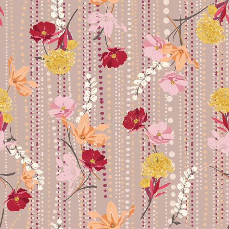 Mano dulce del vintage que dibuja vector inconsútil floral colorido del modelo encendido y la línea humor de los polkadots del ja libre illustration