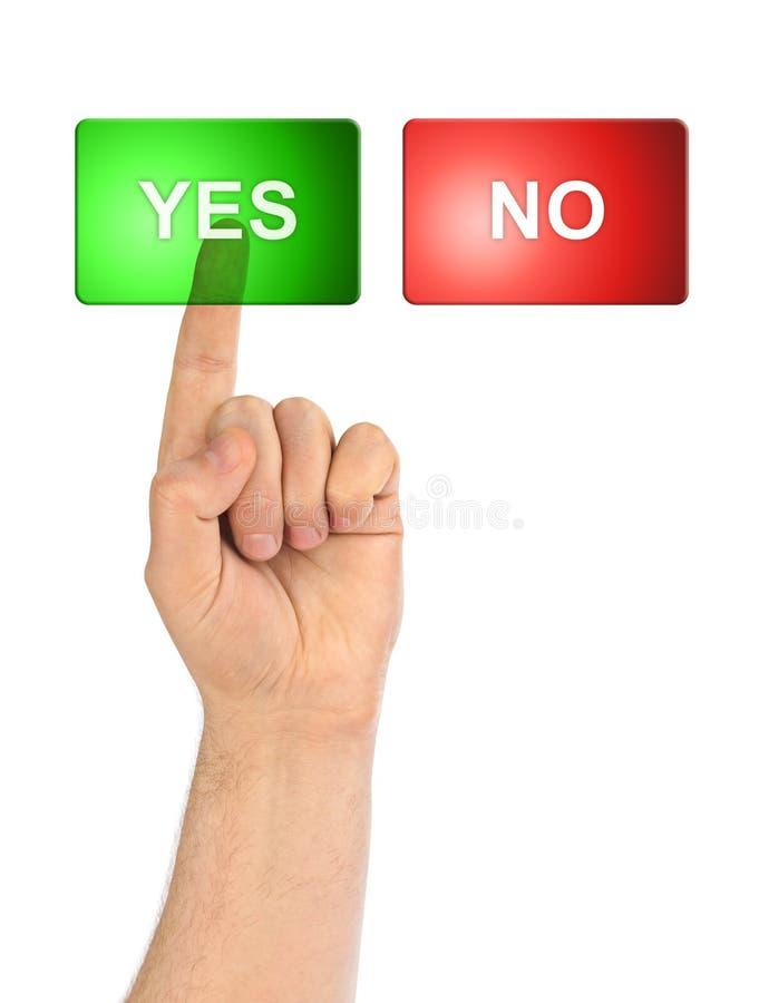 Mano e bottoni sì/no immagine stock