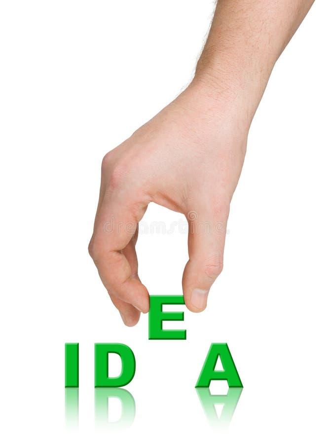 Mano e idea de la palabra imagen de archivo libre de regalías