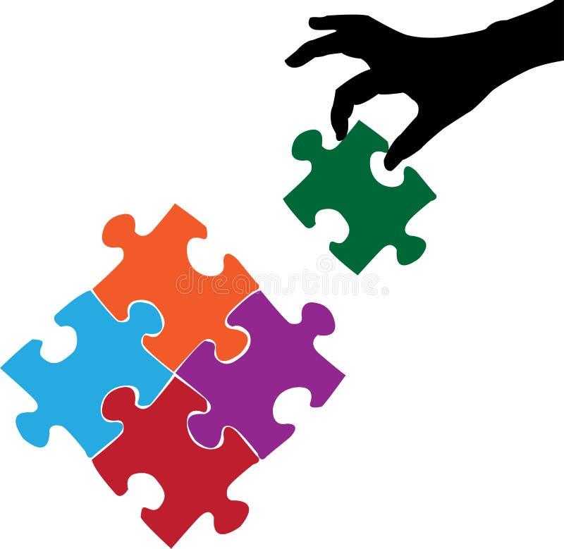 Mano e puzzle illustrazione vettoriale