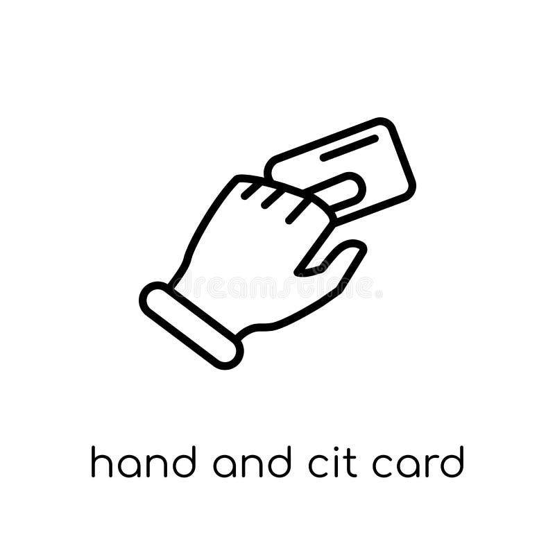 Mano ed icona della carta di credito Mano lineare piana moderna d'avanguardia di vettore royalty illustrazione gratis