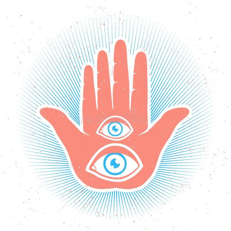 Mano ed occhi illustrazione di stock