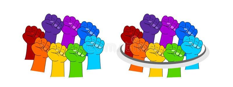 Mano en colores del arco iris ilustración del vector