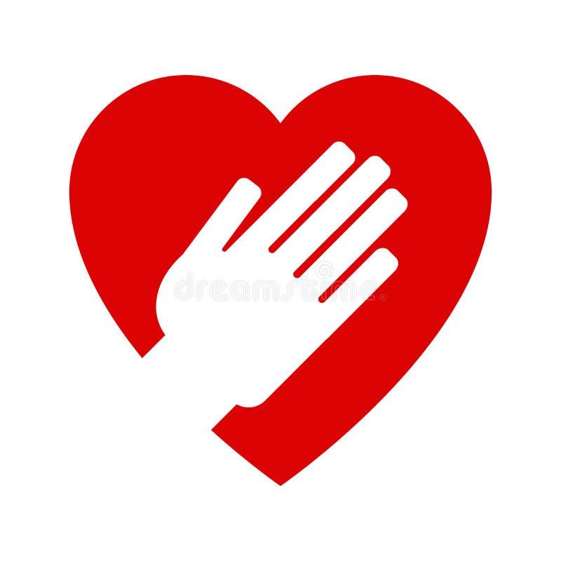 Mano en corazón icono ilustración del vector