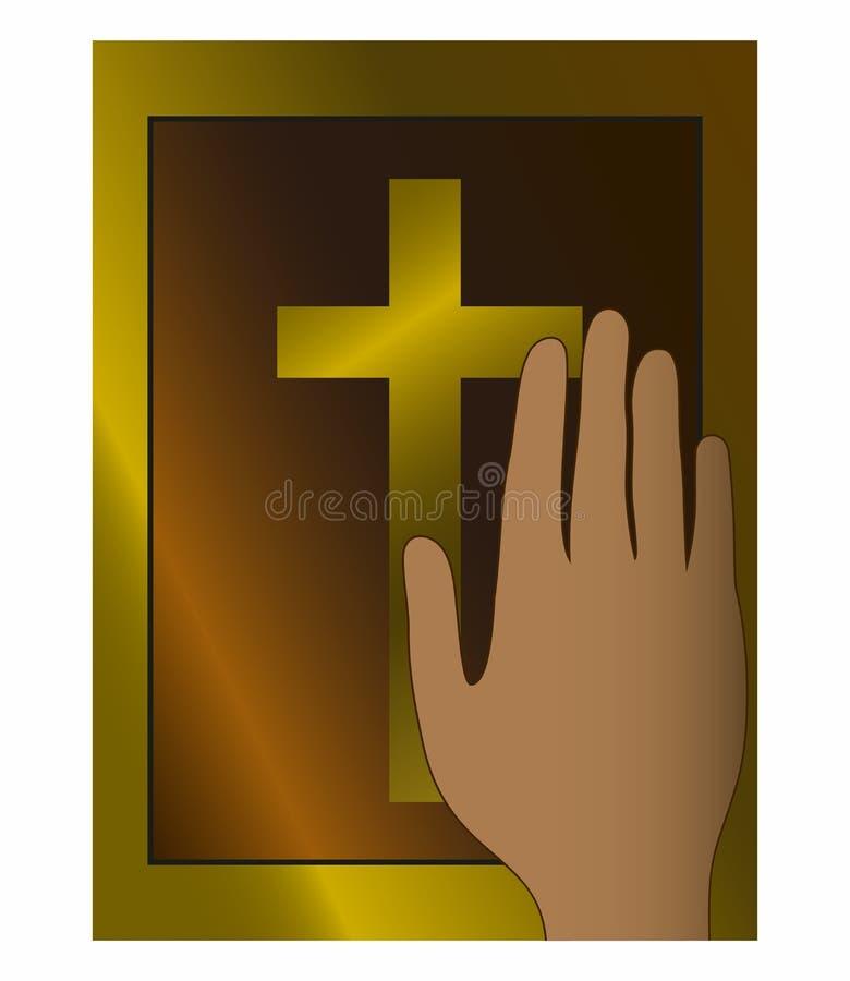 Mano en el libro de la biblia testimonio jure el juramento ante el tribunal ilustración del vector