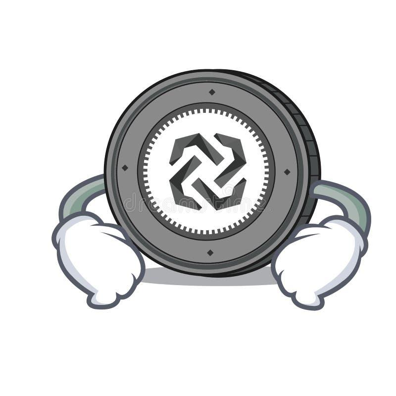 Mano en historieta del carácter de la moneda de Bytom de la cintura libre illustration