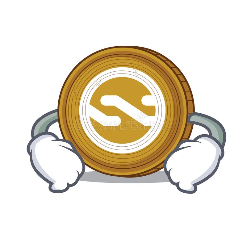 Mano en historieta del carácter de la moneda de Nxt de la cintura libre illustration