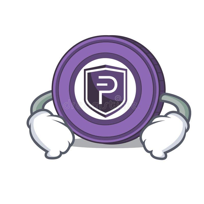 Mano en historieta del carácter de la moneda de Pivx de la cintura ilustración del vector