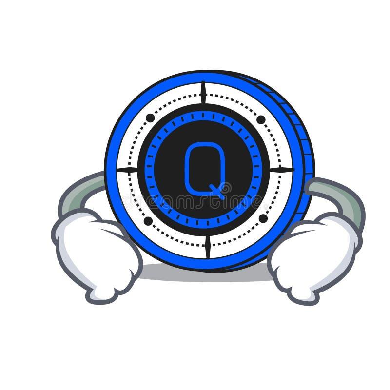 Mano en historieta del carácter de la moneda de Qash de la cintura ilustración del vector