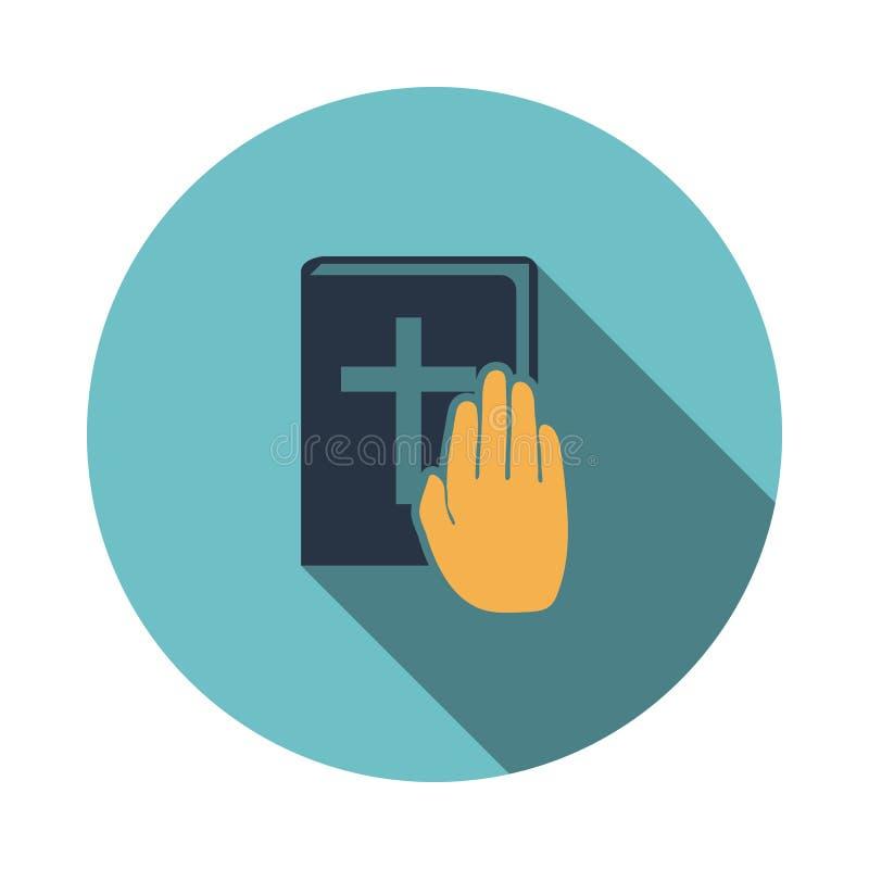 Mano en icono de la biblia stock de ilustración