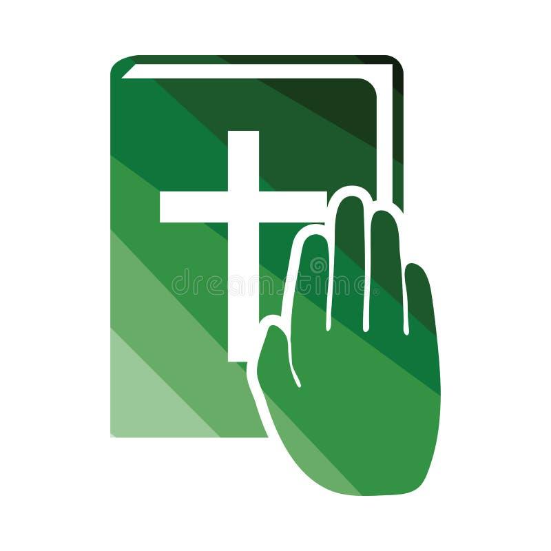 Mano en icono de la biblia ilustración del vector