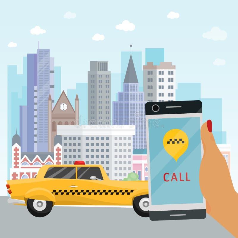 Mano en línea del servicio del taxi del orden de la aplicación móvil de la bandera del taxi con el ejemplo del vector del teléfon ilustración del vector