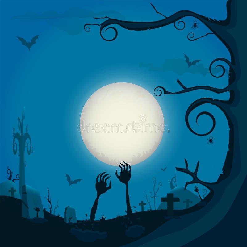 Mano en la tierra, fondo del zombi de la noche de Halloween con la Luna Llena, libre illustration
