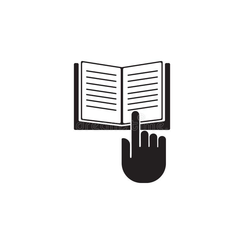mano en un ejemplo de libro abierto Elemento del icono de la biblioteca para los apps móviles del concepto y del web La mano deta libre illustration