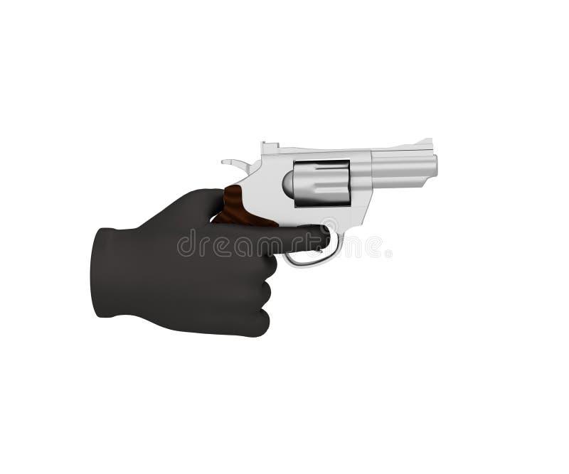 Mano en un guante negro que lleva a cabo un revólver 3d rinden backg blanco stock de ilustración