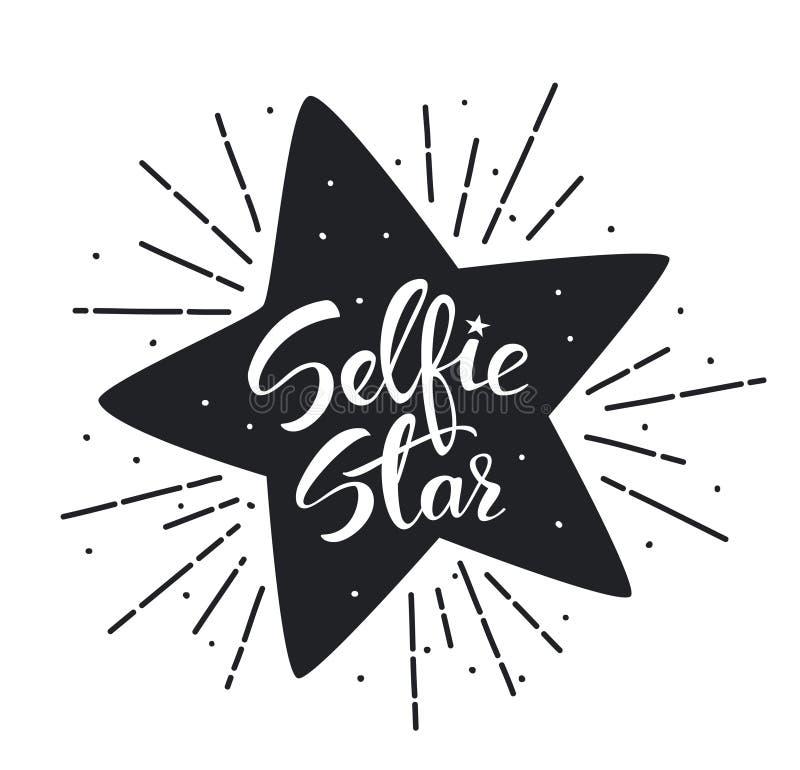 Mano escrita poniendo letras al gráfico blanco y negro de la diversión de la estrella de Selfie stock de ilustración