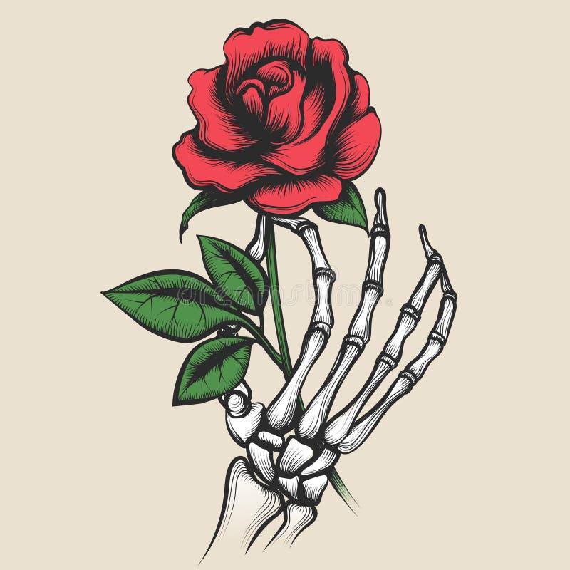 Mano esquelética con estilo color de rosa del tatuaje libre illustration