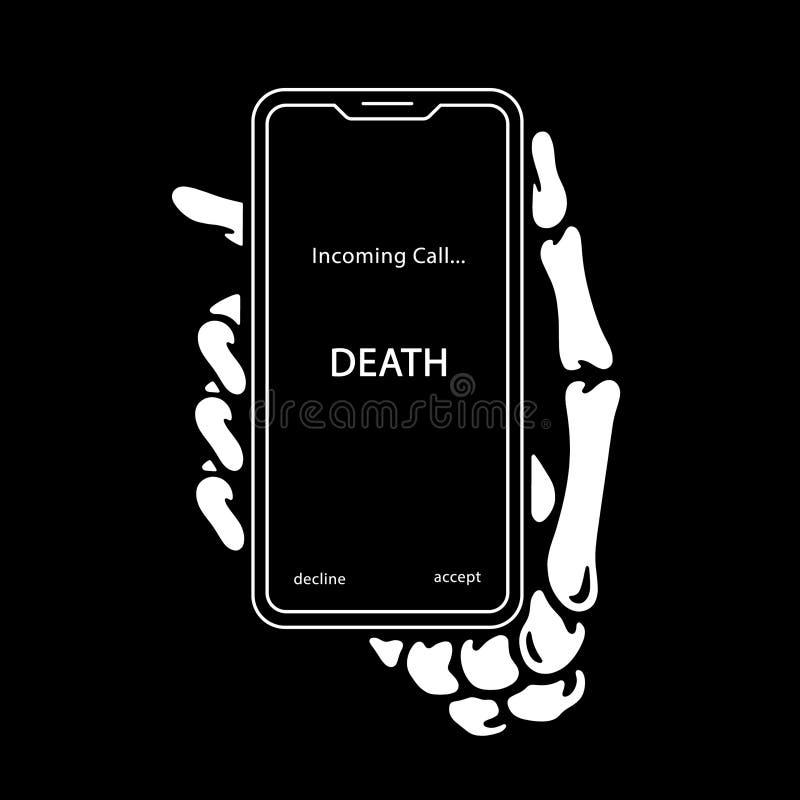 MANO ESQUELÉTICA DE LA LLAMADA ENTRANTE CON EL TELÉFONO ilustración del vector