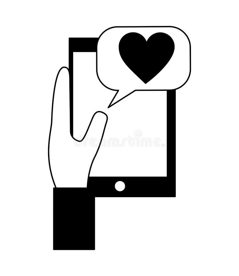 Mano facendo uso dello smartphone con cuore ed il fumetto royalty illustrazione gratis
