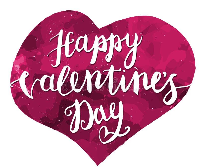Mano felice di giorno di biglietti di S. Valentino che disegna Pen Brush Lettering Vettore royalty illustrazione gratis