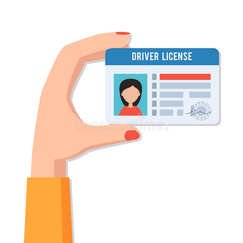 Mano femenina con el carné de conducir stock de ilustración