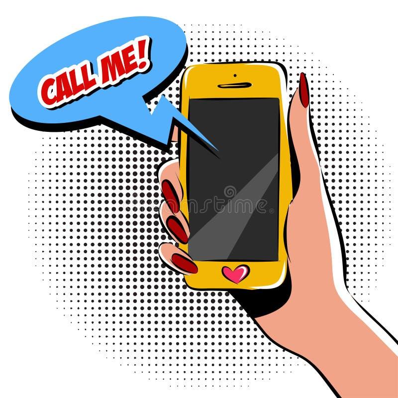 Mano femenina con el ejemplo del vector del arte pop del teléfono Imitación del estilo del cómic colorido ilustración del vector