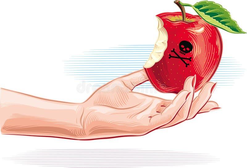 Mano femenina con la manzana envenenada apenas mordida ilustración del vector
