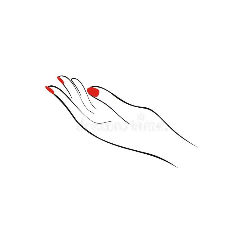 Mano femenina con los clavos rojos, manicura Logotipo del salón de la moda V ilustración del vector